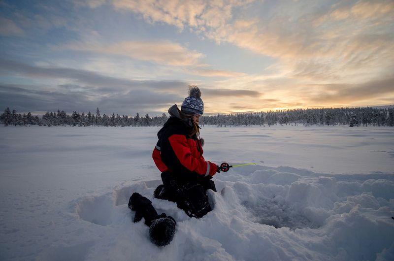Ice fishing at