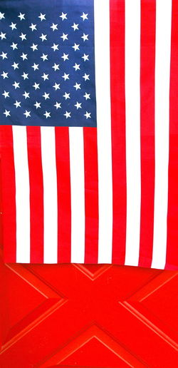 Close-up of flag against wall