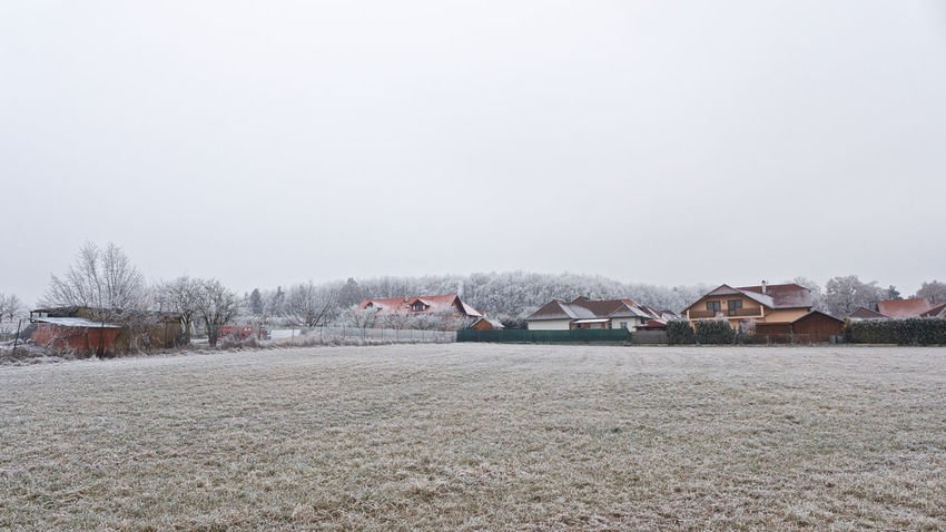 Day First Snow Frost Nature No People Outdoors Sky Snow Tree Village Village Houses Winter Winter