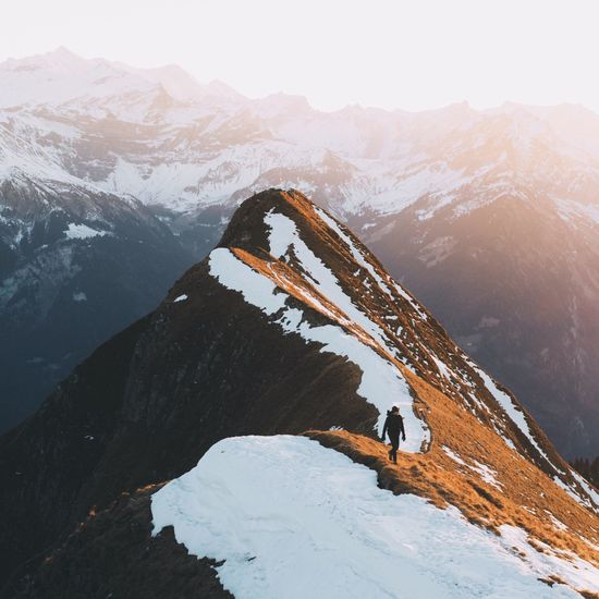Mountain Snow Climbing Adventure Cold Temperature Mountain Range Winter Snowcapped Mountain Hiking Extreme Sports One Person Extreme Terrain Conquering Adversity Challenge Effort Switzerland Landscape Mountains Alps The Great Outdoors - 2017 EyeEm Awards