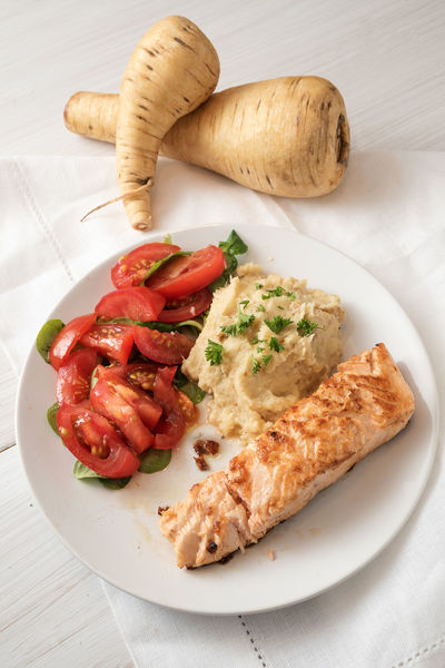Cooking Diet Ingredients Puree Seafood Above Dieting Fish Food Freshness Grilled Healthy Eating High Angle View Low Carb Mash Parsley Parsnip Plate Ready-to-eat Roasted Salmon Serving Size Slimming Tomatoes Vegetable