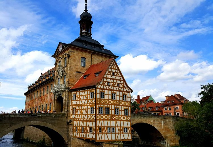 Travel Destinations Outdoor Photography Urbanphotography Fachwerkhaus Rathaus Bamberg  Politics And Government City Clock Face Clock Bridge - Man Made Structure History Clock Tower Sky Architecture Building Exterior