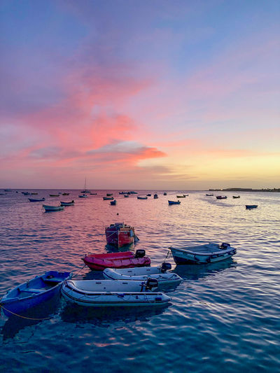 Harbour of Santa Maria, Sal Island, Cabo Verde, at sunset Nautical Vessel Water Sunset Sea Scenics - Nature Cloud - Sky Sky Horizon Over Water Waterfront Fishing Boat
