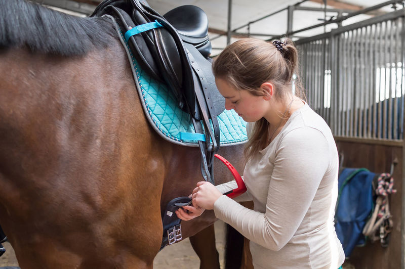 Smiling young woman fastening saddle belt on horse at stable