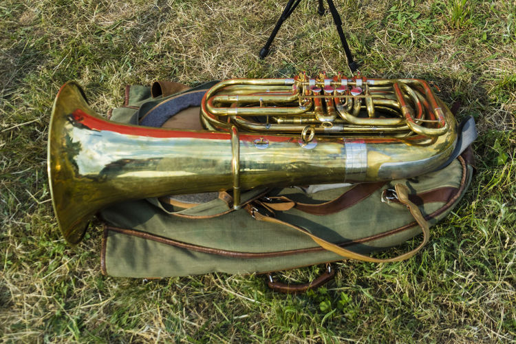 Grass High Angle View Music Musical Instrument Trumpet Tuba