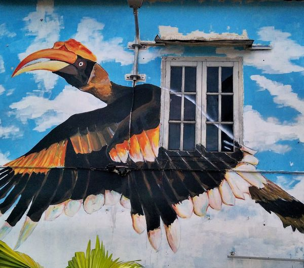 Sarawak's beautiful street art in Kuching City. Mural is of a Rhinoceros Hornbill flying. Streetphotography Street Art Hornbill Mural Kuching Sarawak Borneo Malaysia Painting Birds Birds Of EyeEm  For Sale Stock Photo Art Art Is My Life Art is Everywhere Wall Painting Streetart Street Painting Exotic Birds Birds In Flight Bird Painting Bird Flying Malaysia Cityscape Sky Architecture Built Structure Close-up