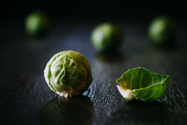 Close-up of brussels sprout on table