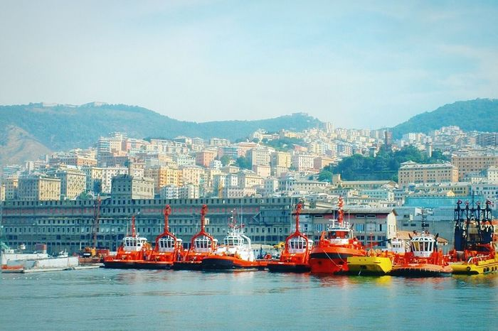 """""""Tugs fleet at the port of Genoa"""". Porto Port Seaside Harbour Sea Port Tugs Boats In A Sea Town Point And Shoot Seaport"""