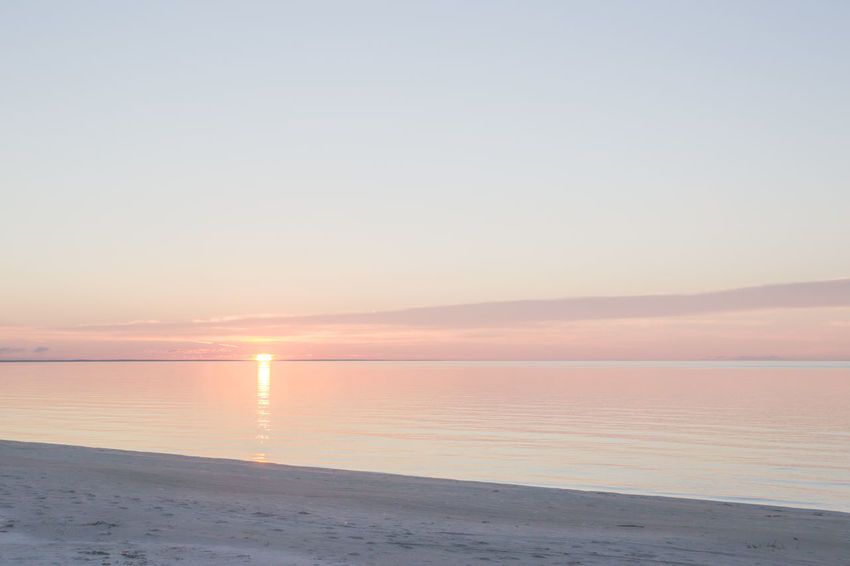 Baltic Sea Beach Beauty In Nature Blue Calm Coastline Horizon Over Water Idyllic Lativia Nature No People Non-urban Scene Orange Orange Color Outdoors Pink Remote Scenics Sea Seascape Sky Sunset Tranquil Scene Tranquility Water