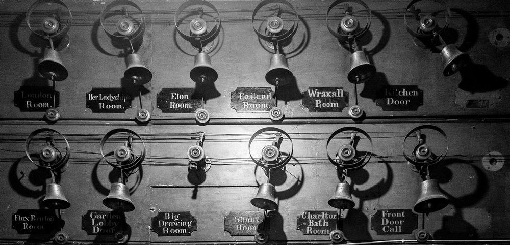 Servant's bells, Tyntesfield, Bristol National Trust Black And White Tyntesfield Monochrome