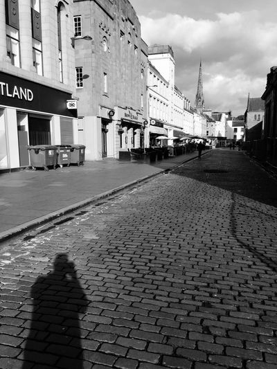 Shadow selfie Cobbles Perth Shadow Building Exterior Architecture Built Structure City Street Cloud - Sky Sky Road