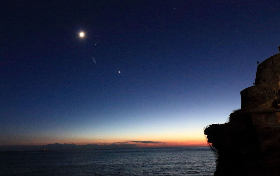 After Sunset After Sunset Sky Constellation Moon Nature Night No People Outdoors Scenics Sea Silhouette Sky Space Star - Space Cometa Water Comet 45p Comet Slow Tourism 5 Terre 5 Terre Italia Abstract