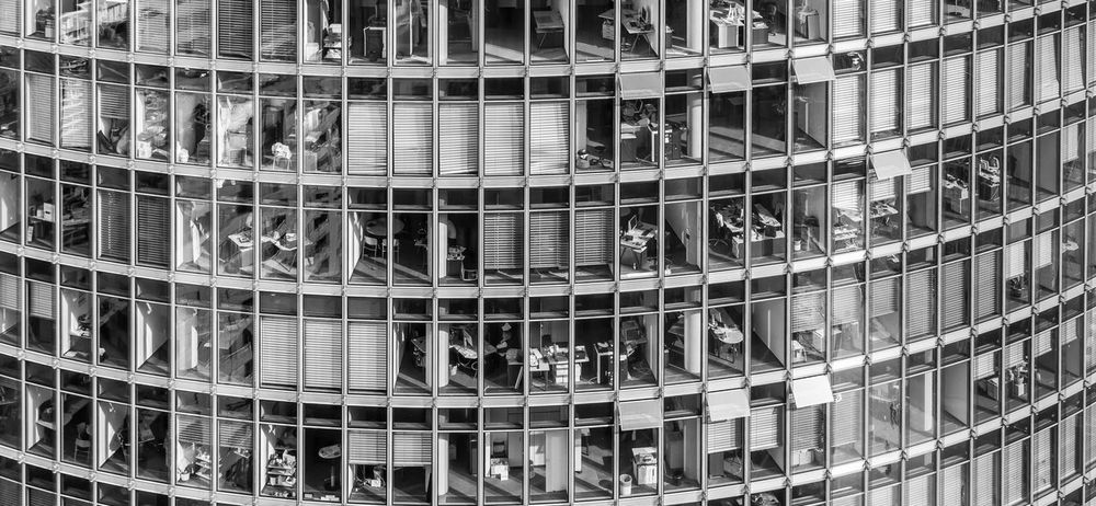 Architecture Backgrounds Black & White Black And White Building Exterior Built Structure Day Downtown District Finance And Economy Financial District  Full Frame Modern Modern Architecture No People Office Block Office Building Office Building Exterior Office Life Office View Outdoors The Architect - 2017 EyeEm Awards Workingplace