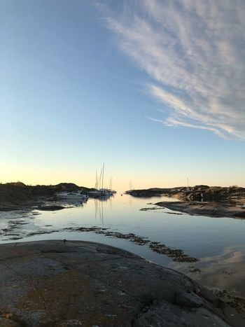 Harbor Arcipelago Boatlife Sweden Water Sky Tranquility Scenics - Nature Sea Beach Nature Beauty In Nature No People Land Cloud - Sky Outdoors Sunset Idyllic