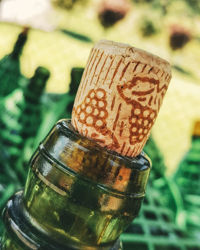 Close-up of cork on wine bottle