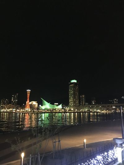 Kobe Port Port Tower Sea Side Night View Red Tower Hyogo,japan 神戸港 Building Exterior Built Structure Night Architecture Illuminated Water Sky City No People Reflection