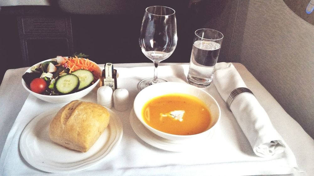 Emiratesairlines Dinner Flying First Eyeem Photo Emirates Boeing 777 Business Class Meal Meal Time Soup Soup Of The Day Flying Business Salad Mixed Salad