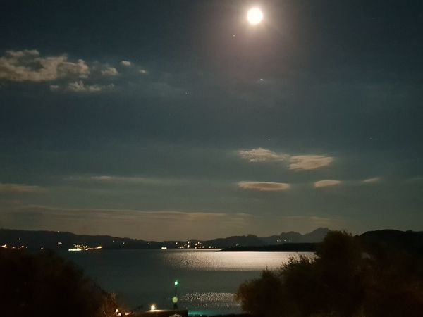 Good night Astronomy Water City Star - Space Moon Sea Mountain Illuminated Constellation Sky Full Moon Moonlight Horizon Over Water Calm Ocean