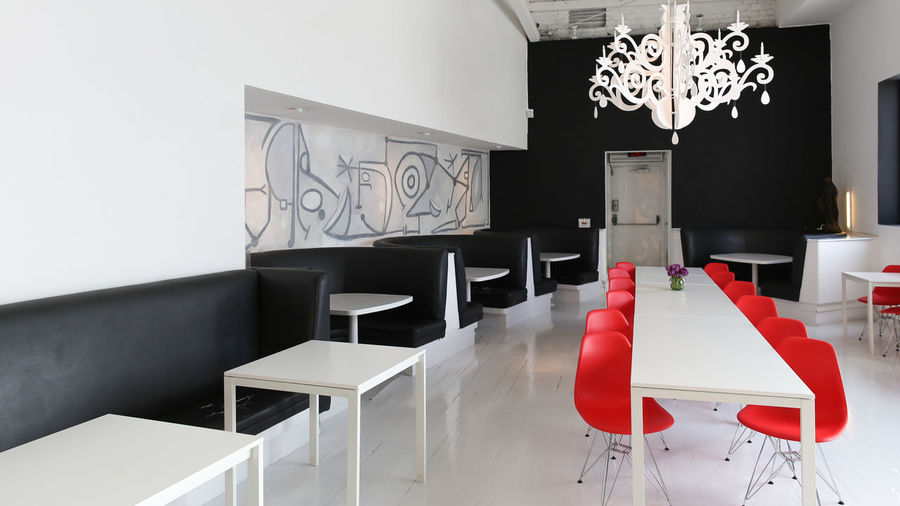 Architecture Cafe Chair Chandelier Close-up Day Dining Room Home Interior Home Showcase Interior Indoors  Modern No People One Color Red Seat Table