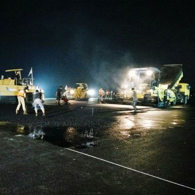Working People Night Commercial Airplane Sultan Thaha Airport Project , Jambi.