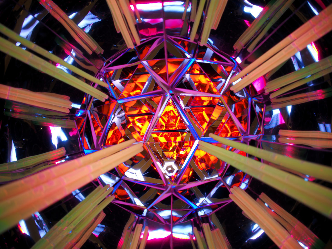 illuminated, amusement park, multi colored, amusement park ride, night, architecture, pattern, built structure, shape, arts culture and entertainment, no people, glowing, lighting equipment, low angle view, enjoyment, design, outdoors, metal, leisure activity, ceiling