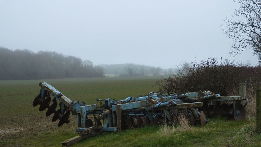 Resting Plough Machine Machinery Abandoned Left Leftbehind Farm Farm Machinery Fields Fieldscape Rural Rural Scene English Countryside Countryside Landscape_photography Land Fields Blue Tilling Tilling The Soil