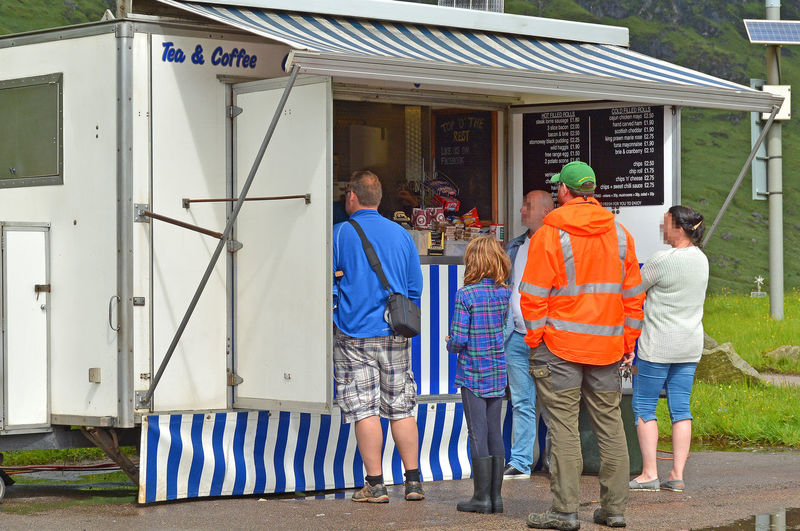 A Taste Of Scotland Waiting In Line Adult Adults Only Building Exterior Casual Clothing Day Full Length Green Cap High Visibility Jackets Highlands Of Scotland Mature Adult Men Mobile Refreshment Vehicle Outdoors People Queue Of People. Real People Red Jacket Standing Togetherness Women Food Stories Business Stories Modern Workplace Culture