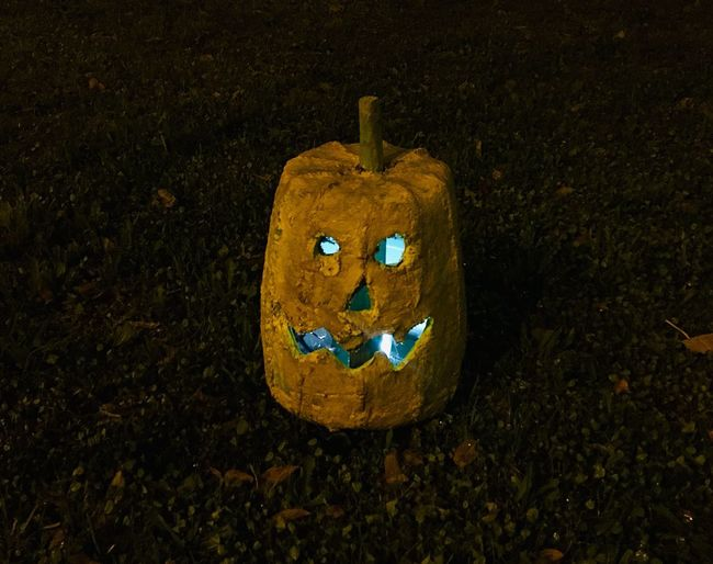 Halloween Avintes Representation Creativity Anthropomorphic Smiley Face Art And Craft Face Smiling Human Representation Anthropomorphic Face High Angle View Nature Craft