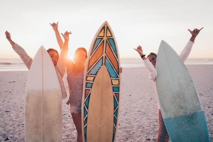 Friendship Friends Surfing Beach Sand Ocean Happy Hobby Vacations Fun Women Sport