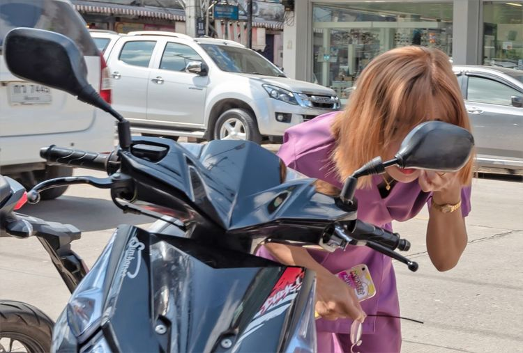 The Art Of Street Photography Transportation Mode Of Transportation Motor Vehicle Land Vehicle Car City Street Real People One Person Road Women Day Lifestyles Architecture Adult Young Adult Young Women Side View Leisure Activity Outdoors Hairstyle