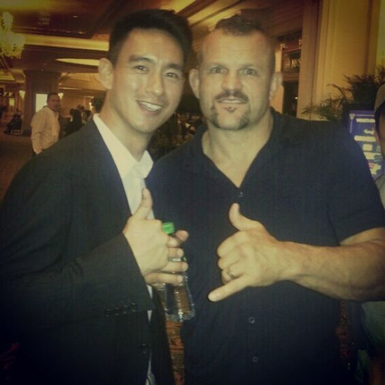"My new sparring partner Chuck ""the ICEMAN  "" Liddel :p UFC Macau"