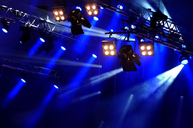 Illuminated Stage During Concert At Night