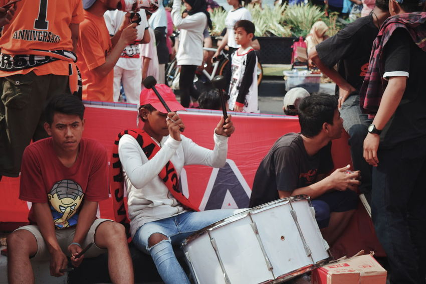 JAKARTA, INDONESIA - OCT 7, 2018: young people are singing and playing musical instruments to raise funds for charity Music Drum Band Drum Charity EyeEm INDONESIA Jakarta EyeEm Best Shots EyeEmNewHere EyeEm Gallery EyeEm Selects EyeEmBestPics Actor News Event
