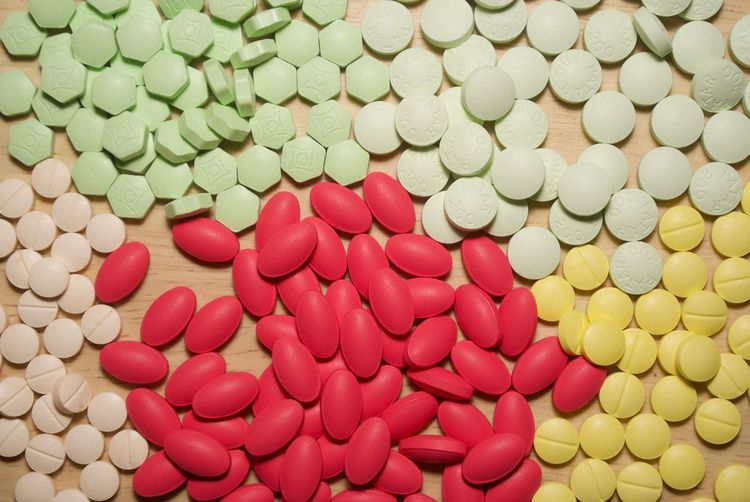 Full Frame Shot Of Colorful Pills On Table