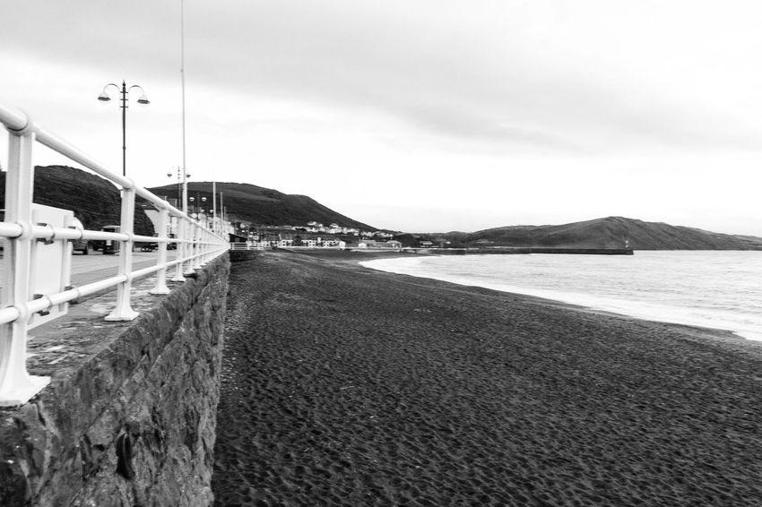 The Autum brings a quiet beach Irish Sea Cymru Sea Cymru-photography Wales Black And White Seaside Black & White Aberystwyth Aber Town Beach Beachphotography