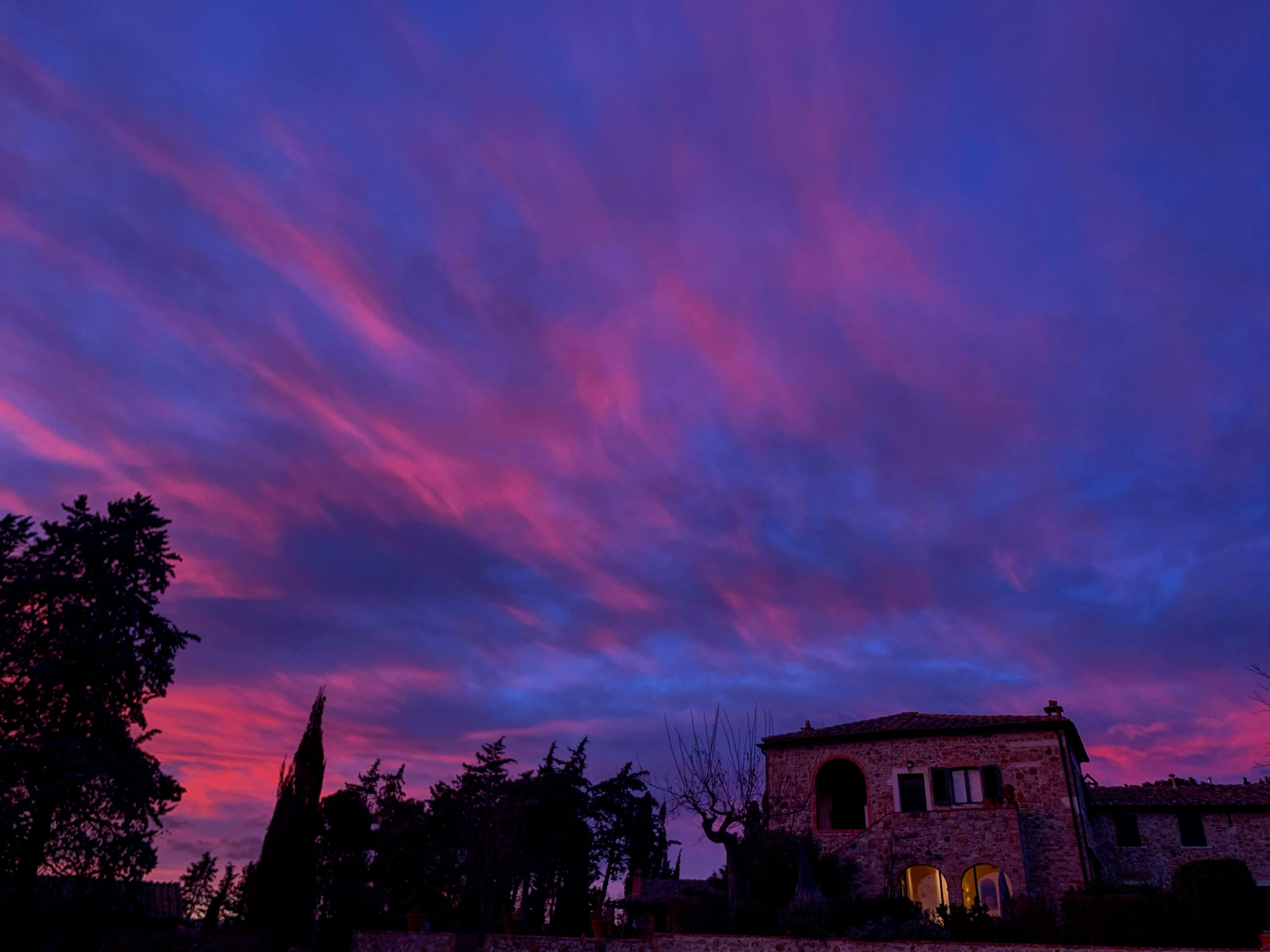 sky, building exterior, architecture, built structure, cloud - sky, sunset, tree, plant, nature, building, silhouette, no people, beauty in nature, low angle view, dramatic sky, house, dusk, outdoors, residential district, scenics - nature
