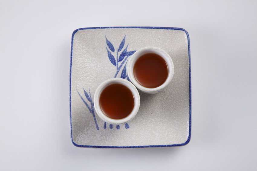 two cup of tea ready to serve Asian  Beverage Paint Served Service Tea Bamboo Close-up Day Directly Above High Angle View Japanese Drink No People Oriental Plate Ready To Serve Studio Shot Tea - Hot Drink Traditional White Background