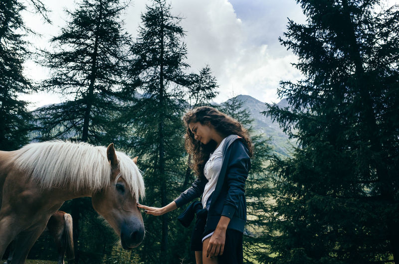 Wild horses in the Dolomits mountains, Italy. Lifestyle Animal Themes Day Forest Horse Leisure Activity Lifestyles Mountain Nature One Person Outdoors Real People Side View Sky Standing Tree Wild Young Women