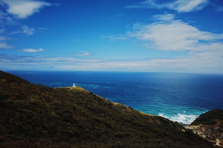 Cape Reinga, Far North at New Zealand Far North Cape Reinga Te Rerenga Wairua Aotearoa Sea Horizon Over Water Sky Scenics Water Nature Beauty In Nature Cloud - Sky Blue Outdoors Beach Landscape first eyeem photo EyeEmNewHere EyeEmNewHere