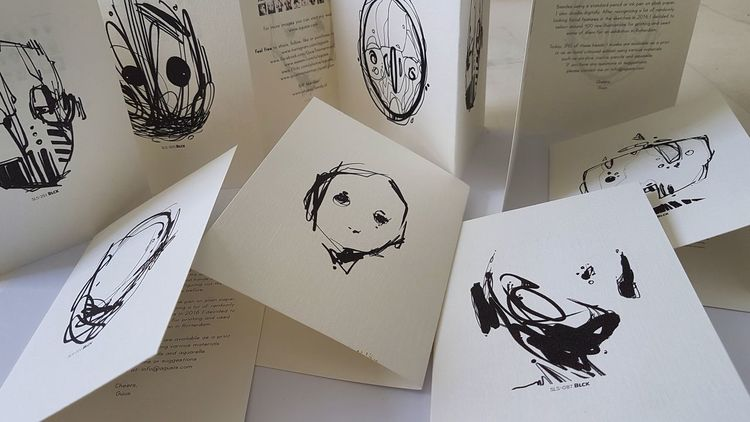 Folding Paper Art Artworks Illustration Aquarelle Ink Drawing Portrait A6 Colors Contemporary Art Contemporary Atelier Aquarell ArtWork Textured  Postcard Freshness