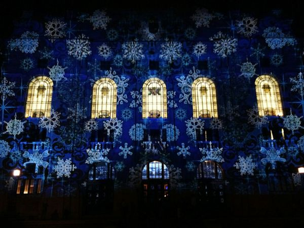 Illuminated Blue No People Night Architecture Low Angle View Built Structure City Outdoors Debrecen Hungary