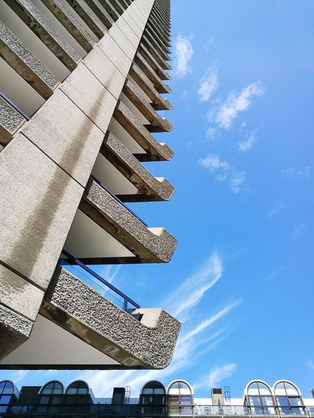 Architecture Built Structure Sky Vertical EyeEmNewHere Modern Building Exterior City Contrast Half Barbican Tower Balconies Concrete Brut Brutalism Brutalist Architecture Rough Texture High Contrast Soft And Hard Blue Gray Residential Structure Modernism Modern Architecture