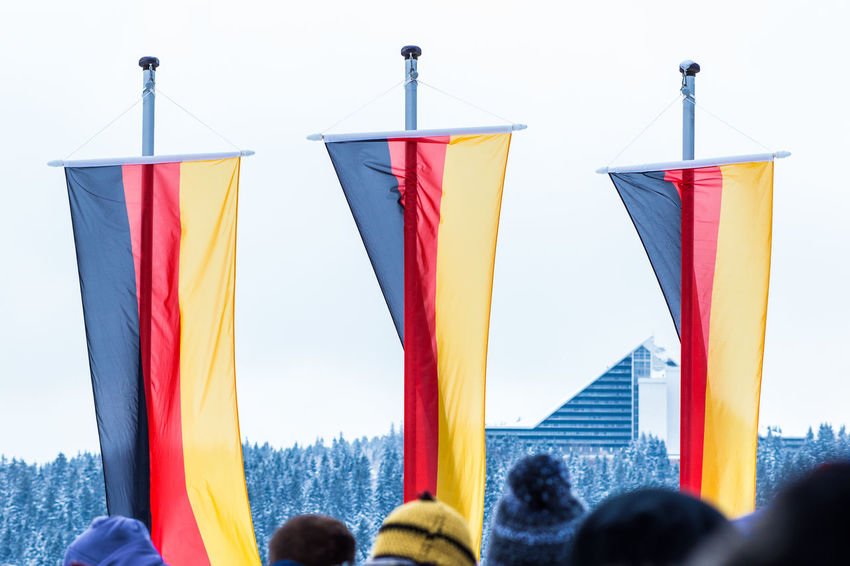 Flags at the award ceremony at Luge World Cup Oberhof 2016 Award Ceremony Flag Flags Germany Luge Oberhof Outdoors Striped Worldcup
