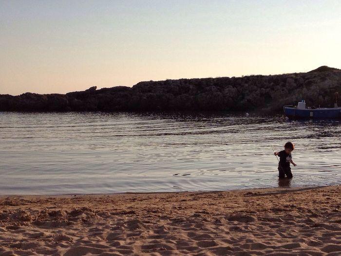 Spiaggia Mare Baia Del Pescatore Tramonto Bambino Acqua Sea Beach Sunset Children Child Water