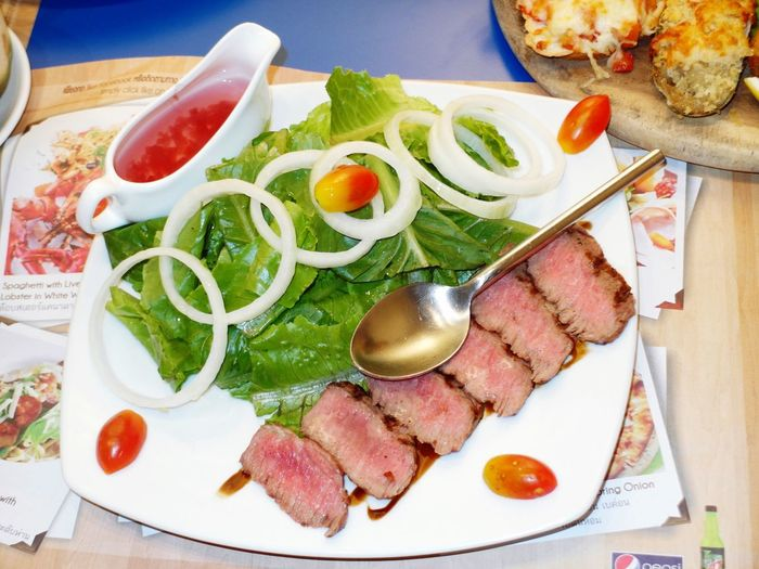Close-up of beef salad served on plate