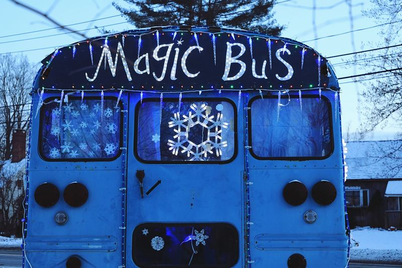 Magic Bus Frozen Blue Christmas Lights Christmas Snow Text Day Outdoors Blue No People Close-up Sky