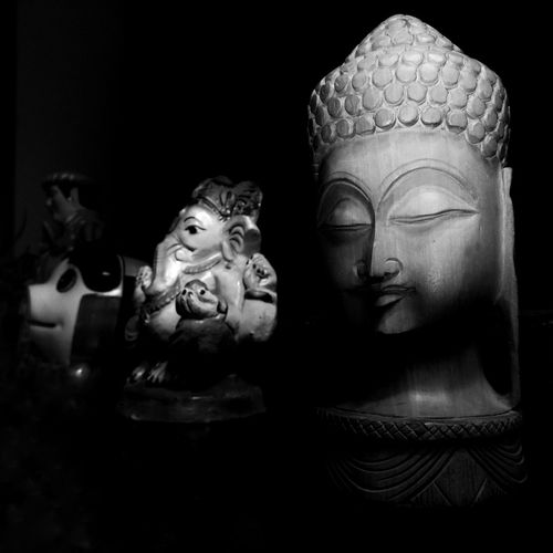 Art And Craft Statue Sculpture No People Black Background Mobilephotography Buddha Ganesha Black And White Monochrome