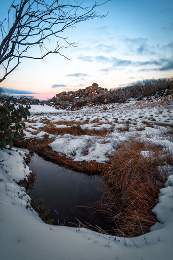 Water pool. Melting snow. Ice Water Mount Buffalo Mount Buffalo National Park Blue Background Sunset Bird Water Snow Cold Temperature Winter Frozen Water Astronomy Lake Sunset Sky Frost Tranquil Scene Snowcapped Mountain Mountain Range Mountain Countryside Tranquility Calm Snowcapped Frozen Ice Crystal