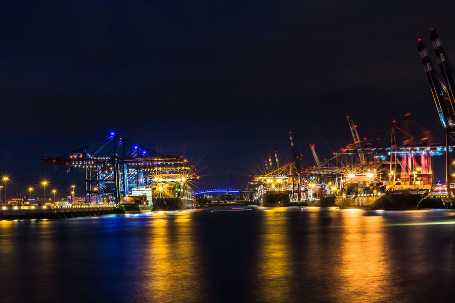 Container Ship Blue Night Crane - Construction Machinery Night Reflection Ship Transportation Waterfront