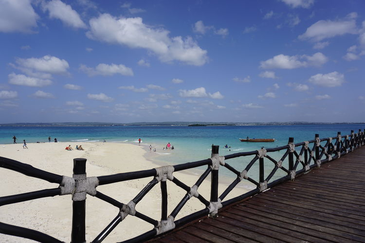 Beach Beauty In Nature Cloud - Sky Day Horizon Horizon Over Water Land Nature No People Outdoors Pier Railing Scenics - Nature Sea Sky Tranquil Scene Tranquility Water Wood - Material